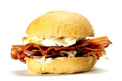 Bacon and egg bun. Stock Photo