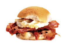 Bacon and egg bun. Royalty Free Stock Photos