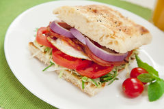 Bacon and egg burger. Healthy bacon and egg burger with onions, tomatoes and lettuce on turkish bread Stock Images