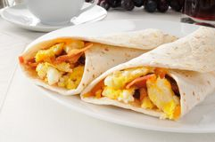 Bacon and egg burritos Stock Photos
