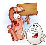 Bacon and Egg Characters Holding Sign. Bacon and egg friends giving a thumbs up and holding a sign, ready for a balanced breakfast Royalty Free Stock Images