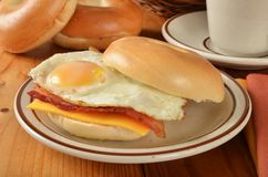 Bacon egg and cheese sandwich on a bagel Royalty Free Stock Photo