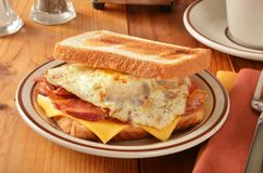 Bacon egg and cheese sandwich Royalty Free Stock Photos