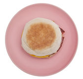 Bacon Egg and Cheese Sandwich on an English Muffin Royalty Free Stock Photos