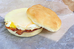 Bacon, egg and cheese sandwich on a muffin. Stock Photo