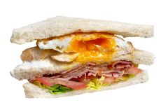 Bacon and egg club sandwich isolated on white. royalty free stock image