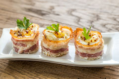 Bacon egg cups Royalty Free Stock Photography