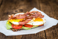 Bacon and Egg Sandwich selective focus Stock Images