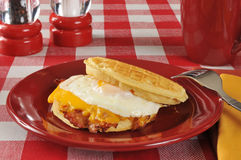 Bacon and egg sandwich on a waffle Royalty Free Stock Photography