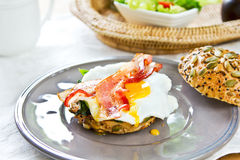 Bacon ,Egg and Spinach Sandwich breakfast Stock Image