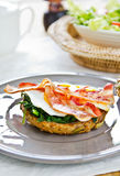 Bacon ,Egg and Spinach Sandwich breakfast Stock Images