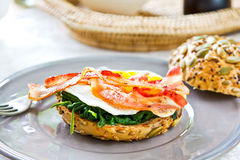 Bacon ,Egg and Spinach Sandwich breakfast Stock Photos