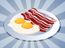 Bacon and eggs. Breakfast on plate  illustration Royalty Free Stock Photography