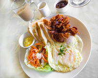 Bacon and Eggs. American style breakfast with bacon, fried eggs and toast Stock Photography