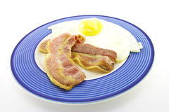 Bacon and Eggs on a Blue Plate Stock Photography