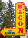 Bacon and eggs. Breakfast cafe sign, bacon and eggs Royalty Free Stock Photography