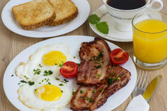 Bacon and eggs for Breakfast Royalty Free Stock Images