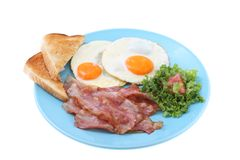 Bacon and eggs breakfast isolated Stock Photography