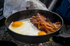 Bacon and eggs camping Stock Photos