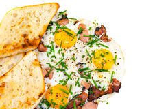 Bacon, eggs and chive with crispy toast Stock Image