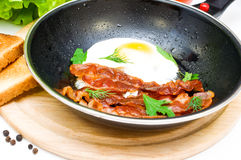 Bacon and eggs in a frying pan Royalty Free Stock Images