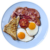 Bacon and Eggs Isolated. On white background Stock Photos