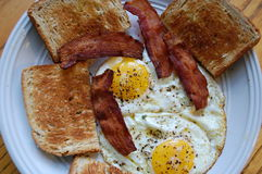 Bacon Eggs and Toast Breakfast Royalty Free Stock Images