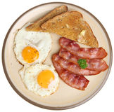 Bacon, Eggs & Toast. Bacon, fried eggs and buttered toast Royalty Free Stock Image