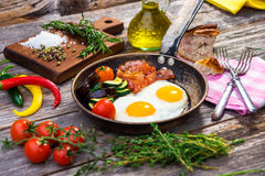 Bacon, eggs and vegetables Royalty Free Stock Photo