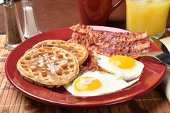 Bacon eggs and waffles Stock Photography