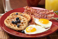 Bacon eggs and waffles Royalty Free Stock Photography
