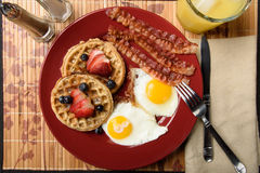 Bacon eggs and waffles Stock Photos