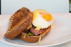 Bacon & Ei Bap of Broodje royalty-vrije stock foto's