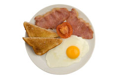 Bacon, ei, toost en tomaat gebraden ontbijt Royalty-vrije Stock Foto's