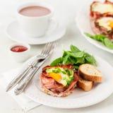 Bacon en Eierdopjes met Spinazie Stock Afbeelding