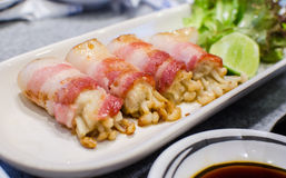 Bacon and Enoki Mushroom roll Royalty Free Stock Photography