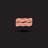 Bacon för griskött för skivor för vektorsymbol två Illustrationbacon Royaltyfria Bilder