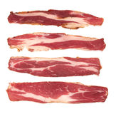 Bacon. Fresh sliced bacon on white background royalty free stock photography
