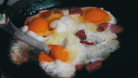 Bacon and fried Eggs stock video