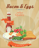 Bacon with fried eggs, green peas, tomatoes, cucumbers and toast. Ketchup. Traditional breakfast Royalty Free Stock Image