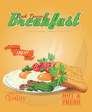 Bacon with fried eggs, green peas, tomatoes, cucumbers and toast. Ketchup. Traditional breakfast Royalty Free Stock Images