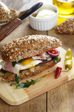 Bacon and fried eggs sandwich Royalty Free Stock Photo