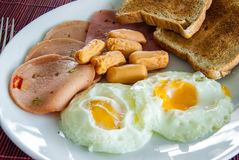 Bacon, fried eggs, sausage and toast Stock Image