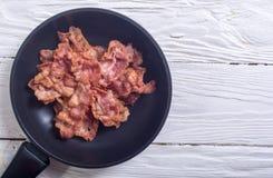 Bacon fritto affettato immagini stock
