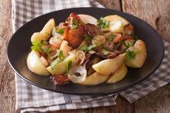 Bacon fritto saporito con la cipolla e le mele stufate vicino su su un pla Fotografie Stock