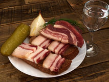 Bacon  and  glass of vodka. Lard, bread, a glass of vodka, onions Royalty Free Stock Photography