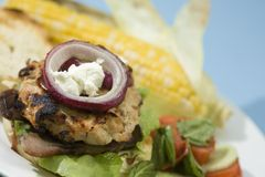 Bacon and Goat Cheese Turkey Burgers. Grilled Bacon Turkey Burgers topped with goat cheese, red onion, and barbecue sauce Stock Photos