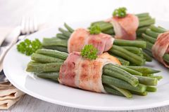 Bacon and green bean Royalty Free Stock Photo