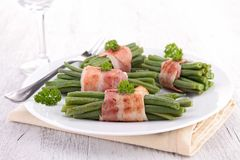 Bacon and green bean Royalty Free Stock Photography