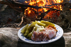 Bacon, groenten in het zuur, brand, toerisme, vrije tijd Stock Foto's